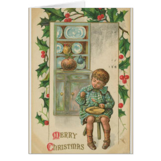 Vintage christmas greeting card with boy eating