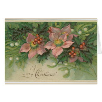 Vintage christmas greeting card with pink flowers
