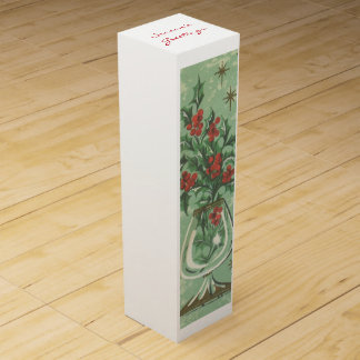 Vintage Christmas Greeting Wine Box