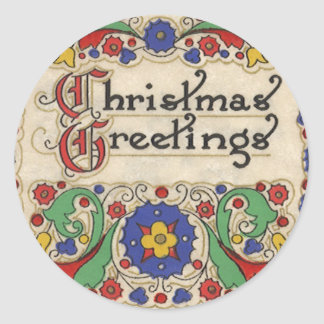 Vintage Christmas Greetings with Decorative Border Classic Round Sticker