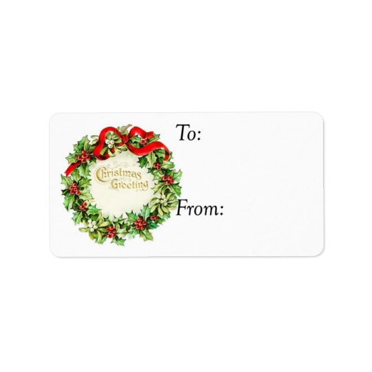 Vintage Christmas Greetings Wreath Gift Tag