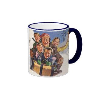 Vintage Christmas, Happy Family Sledding Ringer Coffee Mug