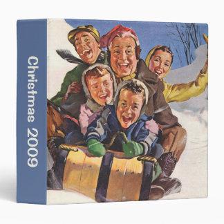 Vintage Christmas, Happy Family Sledding Toboggan 3 Ring Binder