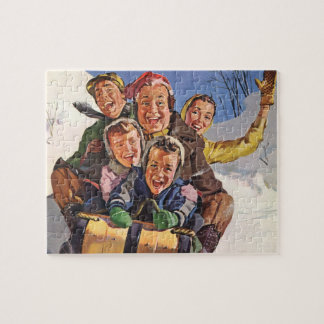 Vintage Christmas, Happy Family Toboggan Sledding Jigsaw Puzzle