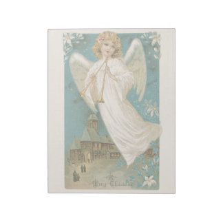 Vintage Christmas Holiday Angel Trumpet Salvation Notepad