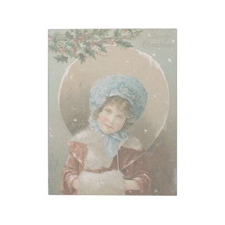Vintage Christmas Holiday Card Snow Girl in Muff Notepad