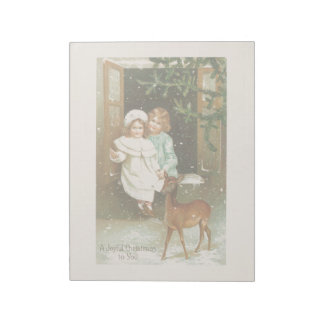 Vintage Christmas Holiday Card Snow Kids Fawn Notepads