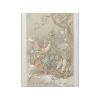 Vintage Christmas Holiday Card Snow Kids Tree Notepads