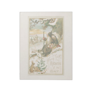 Vintage Christmas Holiday Card Snow St Nick Notepad