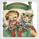 Vintage Christmas Holiday pet sticker