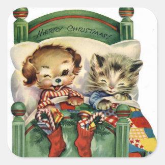 Vintage Christmas Holiday pet sticker