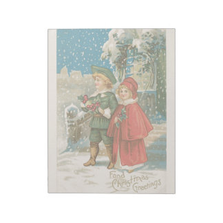 Vintage Christmas Holiday Snowy Day Kids Notepads