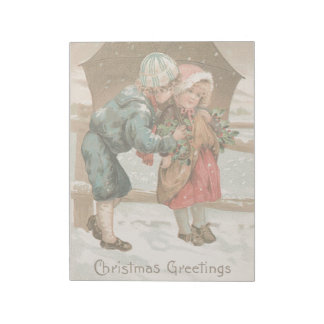 Vintage Christmas Holidays Card Boy & Girl Snowing Notepad
