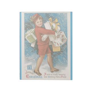 Vintage Christmas Holidays Card Boy Presents Gifts Notepad