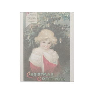 Vintage Christmas Holidays Card Girl Candles Tree Notepad
