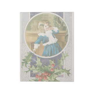Vintage Christmas Holidays Card Girl in Blue Notepads