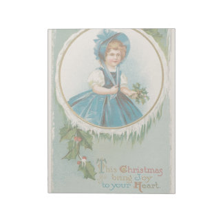 Vintage Christmas Holidays Card Girl Joy to Heart Notepad