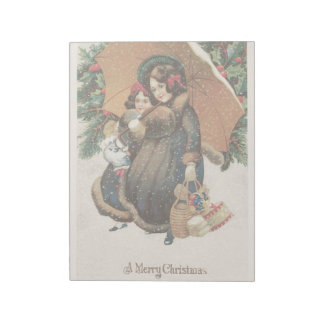 Vintage Christmas Holidays Card Girls in Snow Notepads