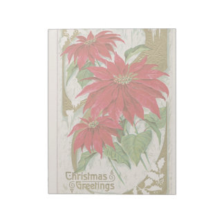 Vintage Christmas Holidays Card Poinsettia Flowers Notepads