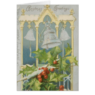 Vintage Christmas Holly and Bells Greeting Card