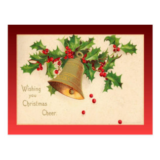 Vintage Christmas, Holly and bells Post Card