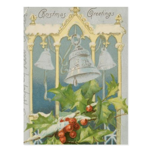 Vintage Christmas Holly and Bells Postcard