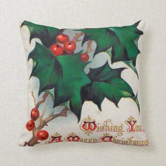 Vintage Christmas Holly Holiday decor pillow