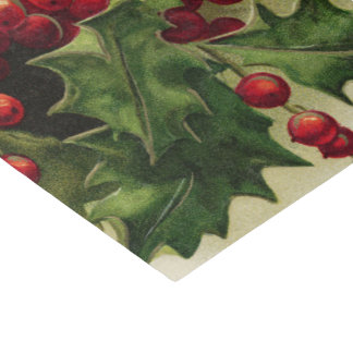 Vintage Christmas Holly Holiday party tissue Tissue Paper