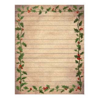 Vintage Christmas Holly Lined Writing Paper