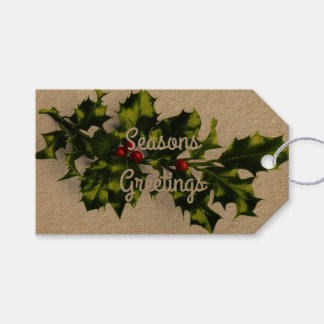 Vintage Christmas Holly Pack Of Gift Tags