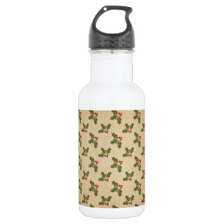 Vintage Christmas Holly Pattern 532 Ml Water Bottle