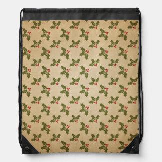 Vintage Christmas Holly Pattern Drawstring Bag