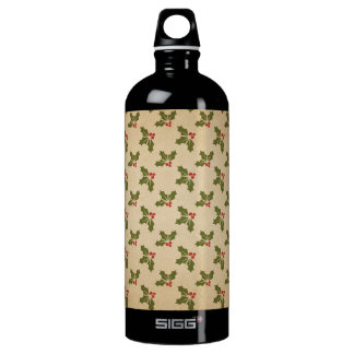 Vintage Christmas Holly Pattern Water Bottle