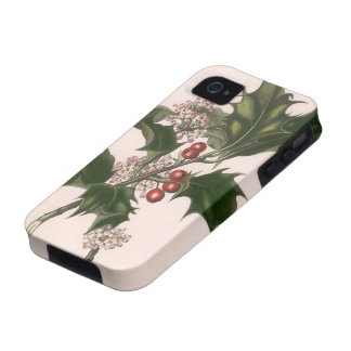 Vintage Christmas, Holly Plant with Red Berries Case-Mate iPhone 4 Case