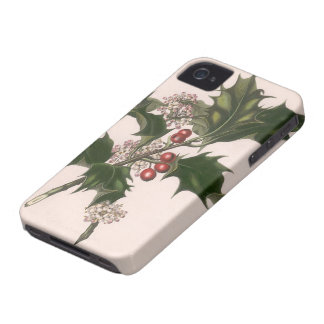 Vintage Christmas, Holly Plant with Red Berries Case-Mate iPhone 4 Cases