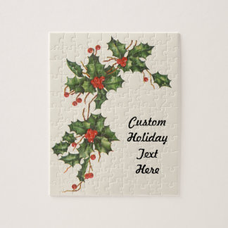 Vintage Christmas, Holly Plant with Red Berries Jigsaw Puzzle