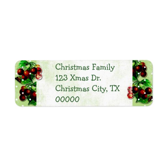 Vintage Christmas Holly Return Address Labels