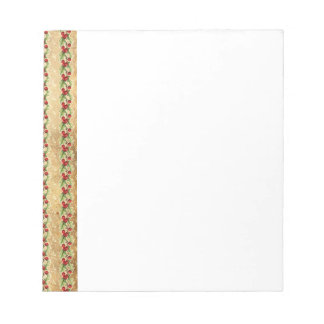 Vintage Christmas Holly Stripes Notepad