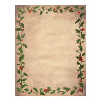 Vintage Christmas Holly Unlined Writing Paper