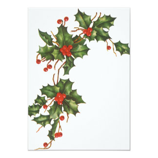 Vintage Christmas, Holly w Red Berries Invitation