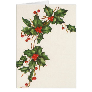 Vintage Christmas, Holly with Red Berries Card