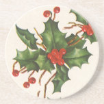 Vintage Christmas, Holly with Red Berries Beverage Coaster