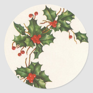 Vintage Christmas, Holly with Red Berries Sticker