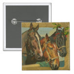 Vintage Christmas Horses Pinback Buttons