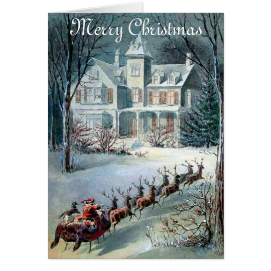 Vintage Christmas House And Santa Sleigh Card