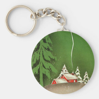 Vintage Christmas, House in Forest Winter Snow Keychain