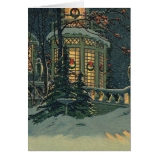 Vintage Christmas, House with Wreaths in Windows Card