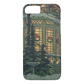 Vintage Christmas, House with Wreaths in Windows iPhone 7 Case
