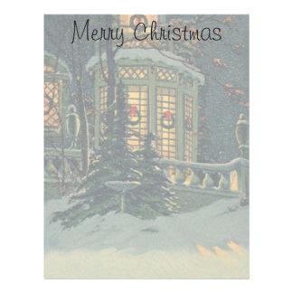Vintage Christmas, House with Wreaths in Windows Letterhead Design