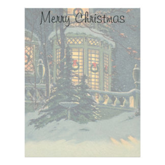 Vintage Christmas, House with Wreaths in Windows Letterhead Design